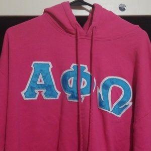 Tops - Alpha Phi Omega Pink Hoodie Hoody sweatshirt Sz L